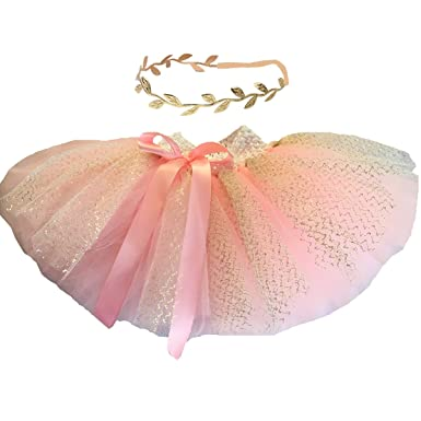 BBVESTIDO Baby Girls Pink Tutu Skirt With Gold Tulle And Headdress For 1st Party Amazoncouk Clothing