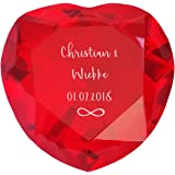 Geschenke.de Personalisierbares Glasherz Infinity als Geschenk zur Hochzeit mit Gravur als personalisierte Hochzeitsgeschenke und kreative Geschenkidee für das Brautpaar, rot