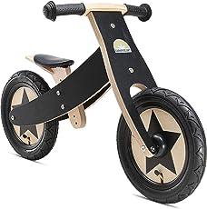 BIKESTAR Mitwachsendes Kinder Laufrad Holz Lauflernrad Kinderrad für Jungen Mädchen ab 2-4 Jahre ★ 12 Zoll 2 in 1 Kinderlaufrad ★ Schwarz 2018
