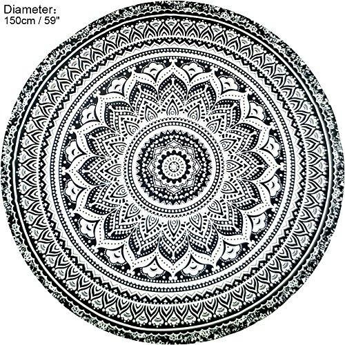 wocharm rund Strandtuch Bohemian Hippie Tapisserie Überwurf indische Mandala Tapisserie Picknick Tuch Black White Flower Boot Abdeckung Spray
