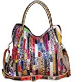 Segater® Borse Tote multicolore da donna Borsa patchwork colorata in vera pelle Borsa a mano grande Hobo Purse Borsa Big Bors