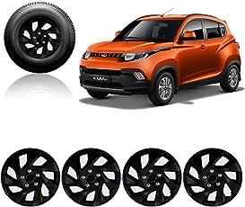 "Autorepute Premium Quality Car Full Black Wheel Cover Caps 14"" Press Type Fitting For - Mahindra Kuv 100"