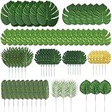 Auihiay 70 piezas 10 tipos de hojas de palmera artificiales decoraciones de hojas tropicales para decoraciones de fiesta en l