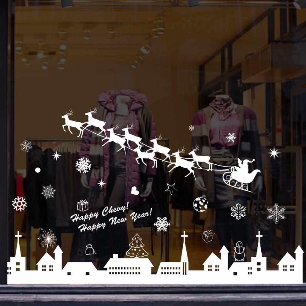 Tuopuda natale vetrofanie rimovibile adesivi murali fai - Adesivi finestre natale ...