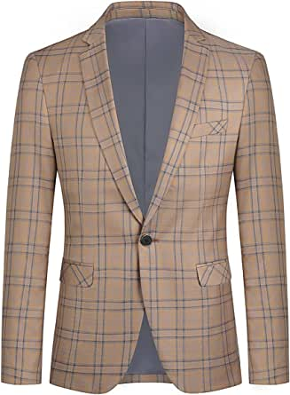 YOUTHUP Mens Slim Fit Check Blazer 1 Button Stylish Business Suit Jacket Formal Plaid Blazers