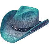 Modestone Straw Cowboy Hat Leather-Like Appliques Blue