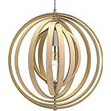 Tomons Lampe de Plafond LED en Bois Plafonnier Lustre du Style Moderne Vintage en Forme de Sphère Bandes de bois Ajustable po