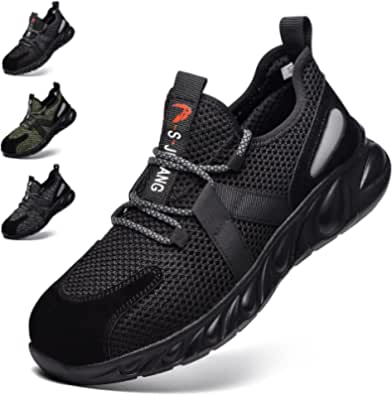 Safety Shoes Men Women Breathable Safety Trainers Lightweight Steel Toe Cap Work Shoes Non-Slip Industrial Sneakers Footwear Black UK 11 (Label Size 45)