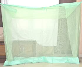 Indian 6.5x6.5 FT Green Mosquito Net for Double Bed Deluxe Cotton Material - Mosquito Net for Bedroom | Queen, King Size Bed