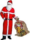 Idena 31337 Weihnachtsmann Kostümset mit Jutesack, 6-teilig, Mütze, Bart, Mantel, Gürtel, Cape, Jute-Geschenksack, rot, weiß, schwarz, Natur