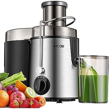 Aicok Centrifuga, Estrattore di Succo a Freddo, Estrattore Frutta e Verdura, 2 Contenitori e Spazzola per Succo più Nutriente, Funzione Anti-Intasamenti, Acciaio Inox