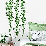 decalmile Pegatinas de Pared Hojas de Hiedra Verde Vinilos Decorativos Plantas de Vid Colgantes Adhesivos Pared Salón Dormito