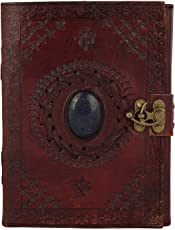 ALCRAFT handmade Pure Leather Diary With Unique Single Stone Classic Leather Notebook Retro Vintage Diary
