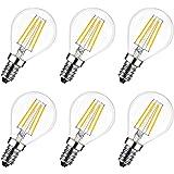 LVWIT Lampe à LED E14 6W (remplace 60W), 2700K Blanc Chaud, MiNi Globale à filament, Ultra lumineux 806 lm, Style de filament