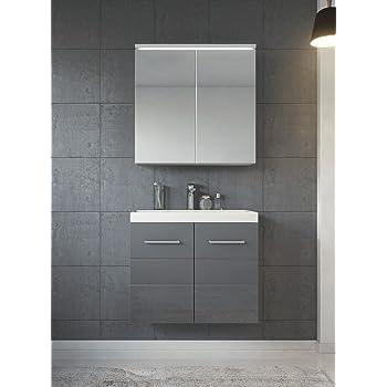 Badezimmer Badmöbel Toledo 02 60 Cm Waschbecken Hochglanz Grau   Unterschrank  Schrank Waschbecken Spiegelschrank Schrank