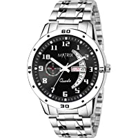 Matrix Blue, Black & Silver Dial, Day & Date Functioning, Stainless Steel Strap Analog Watch for Men & Women