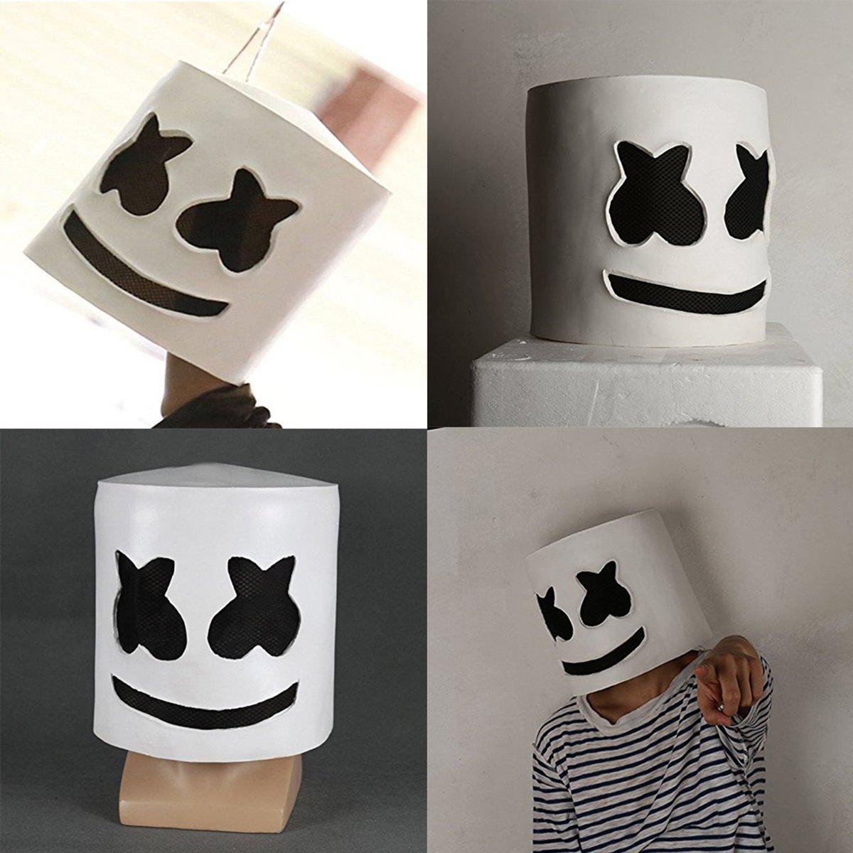 maschera marshmello dj  Gugutogo Halloween Party Night Club Latex bianco maschera per adulti ...