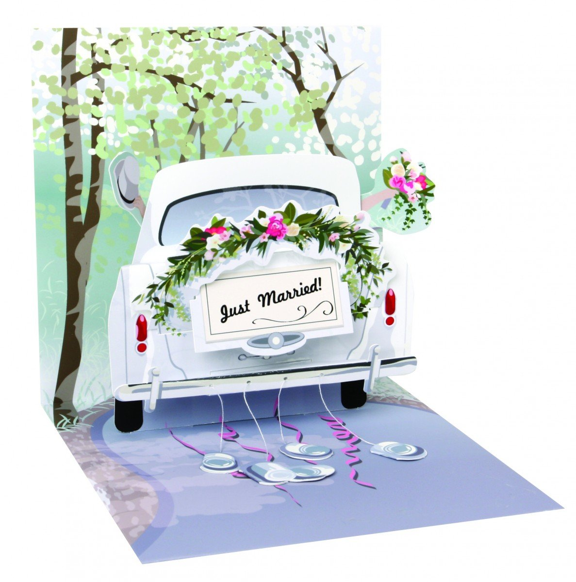 PopShots Studios Pop Up 3D Karte Hochzeit Grußkarte Honeymoon Auto 13x13cm