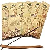 VIE Naturals Hand Rolled Incense Sticks Plus Wooden Incense Stick Holder