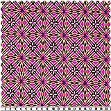 alfa HOME Badeanzugstoff - Pink/Gelb, Retro-Print -