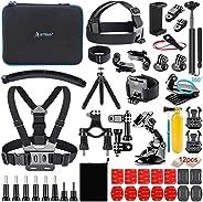 Artman Action Camera Accessories Kit 58-In-1 for Gopro MAX GoPro Hero 8 7 6 5 Session 4 3+ 3 2 1 Black Silver SJ4000/ SJ5000