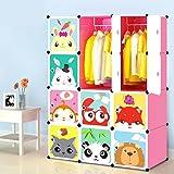 bleo Armoire Chambre Plastique Enfants Rose, 12 Cubes Armoire de Rangement Meuble pour Vêtements Chaussures Jouets Cartoon