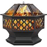 Yaheetech Outdoor Fire Pit Patio Heater for Camping Bonfire, Iron Fire Bowl Fireplaces for Garden/Backyard/Poolside Dia…