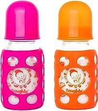 Naughty Kidz PREMIUMWARMER Glass Bottle with Ultrasoft LSR Nipple||Silicone Bottle Warmer||Key TEETHER||Hood RETAINING Cap and Sealing DISC RING-120ML+120ML (Pink+Orange)