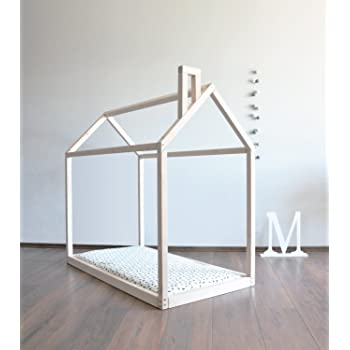 Kidday Wooden house bed frame simple, toddler floor bed in a shape ...