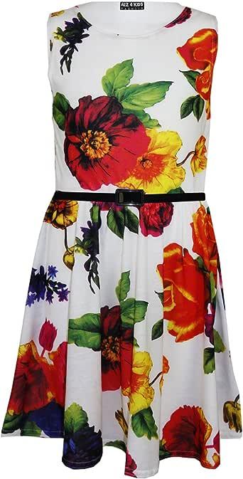 A2Z 4 Kids® Mädchen Skater Kleid Kinder Pink Blumen Abstract Belted Sommer Party Tanz Kleides Alter 7 8 9 10 11 12 13 Jahre