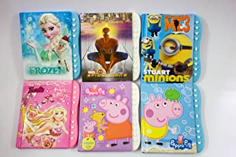 Shopkooky Cartoon Character Printed Small Lock Designer Diary for Kids, (Frozen Spiderman Minion Barbie Peppa Pig) - Pack of 6