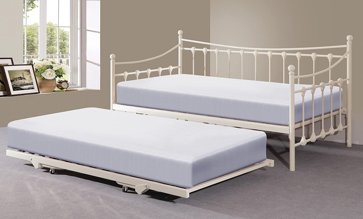 Memphis 3ft Single Day Bed with Trundle - Ivory or Black (Ivory):  Amazon.co.uk: Kitchen & Home
