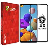 CELLUTION 11D Tempered Glass for Samsung Galaxy A21s Full Screen Edge to Edge Coverage with Easy Installation Kit, (Black) Pa