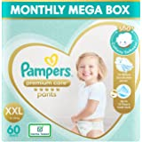 Pampers Premium Care Pants, Double Extra Large size baby diapers (XXL), 60 Count, Softest ever Pampers pants