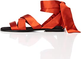 find. Satin Tie Up Damen Peeptoe Sandalen