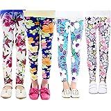 XM-Amigo 4 Pares de Pantalones Para Niñas Chicas Estampado Flores Leggings(2-13 año de edad)