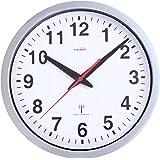 Youshiko Radio Controlled Wall Clock (Official UK & Ireland Version), Stylish Silver & White Bold Classic Design (25cm / 10-I
