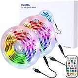 OMERIL Tira LED RGB 6M Impermeable, Tiras LED USB con Control Remoto, 4 Modos de Brillo y 16 Colores, Tira LED Regulable para