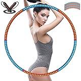 YockTec hoelahoep, gewogen fitness hoelahoep 1,2 kg (2,4 lbs) en een verstelbaar springtouw (2 m) afneembare doe-het-zelf-hoe
