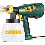 TECCPO Pistola de pintura, Nueva Actualización 2021, Gran Capacidad 1300ML, 500W, 3 modos de pulverización, 4 boquillas (1,3