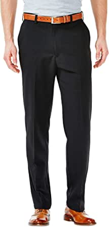 Haggar Men's Cool 18 Stria Hidden Expandable Waistband Plain Front Pant