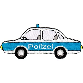 patch polizei auto aufn her b gelbild bekleidung. Black Bedroom Furniture Sets. Home Design Ideas