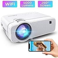 Vidéoprojecteur WiFi, ABOX Projecteur Portable 5000 Lumens avec Haut-parleur HIFI 1080P Supporté Retroprojecteur Home Cinéma 250'' Display Compatible avec Telephones/PC/TV Box/PS4/Chromecast-Blanc