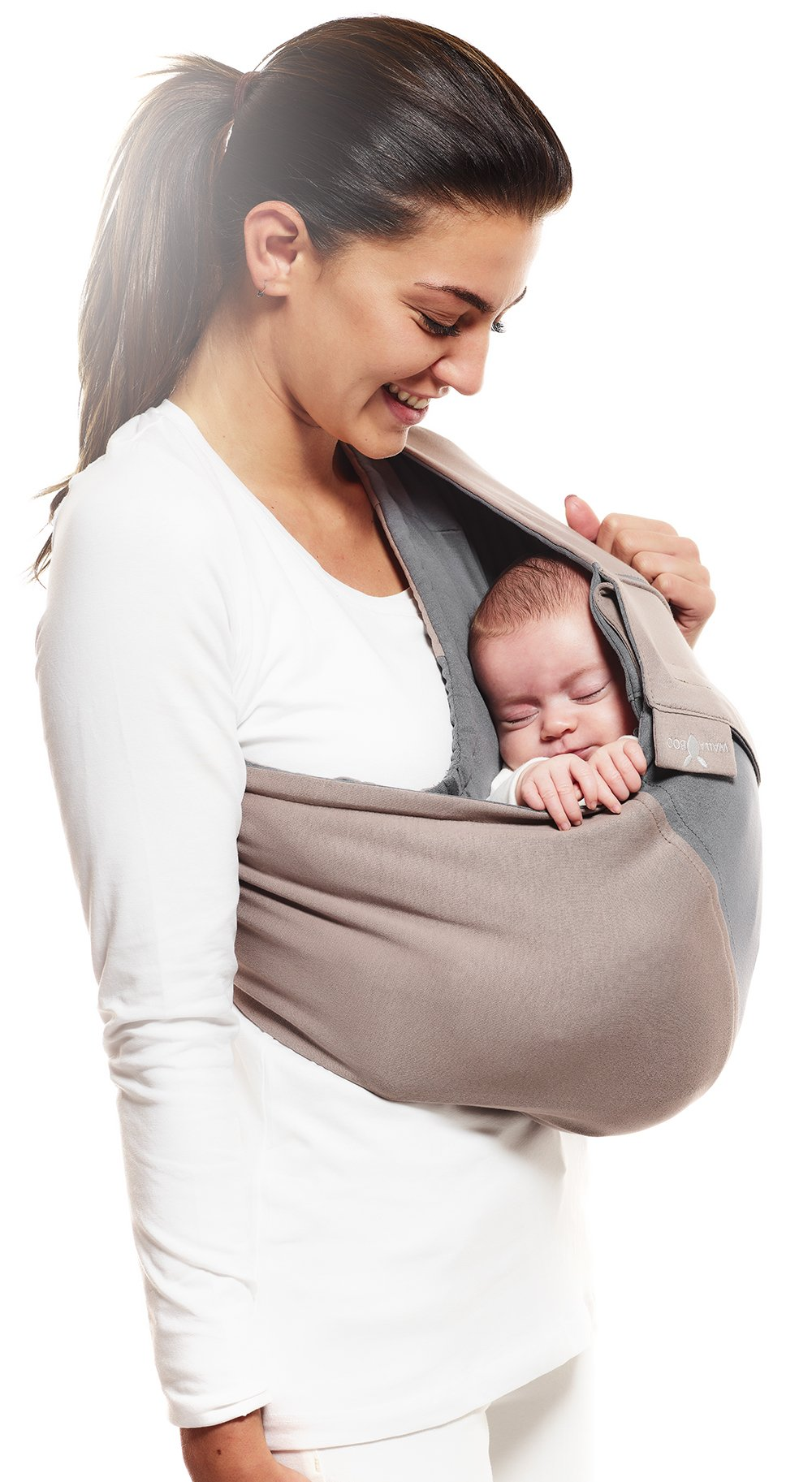 Wallaboo Wrap Sling Carrier Connection, Easy Adjustable, Ergonomic, 3 Carrying Positions, Newborn 8lbs to 33 lbs, Soft Breathable Cotton, 3 Sitting Positions, EU Safety Tested, Color: Taupe / Grey Wallaboo Ergonomically correct design with three natural positions: sleep, sit and active- one size fits all Can be used from premature baby through to 33lbs - with easy-to-use features like a full-front opening and an adjustable back Single piece of fabric, no straps, belts or buckles - Partly padded to give extra comfort- No wrapping, no hardware. Ready to wear 8