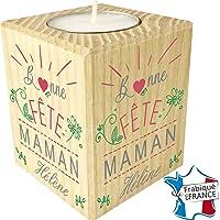 Gravure Events Bougie personnaliséepour Maman – Porte Bougie en Bois personnalisé avec Le prénom de Maman – Cadeau Noël, Anniversaire, fête des mères – Cadeau Personnalisable pour Maman (Mod.10)