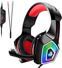 Gaming Headset für PS4 Xbox One PC Nintendo Switch/3DS, Tenswall Gaming Kopfhörer mit Mikrofon, Buntes LED-Licht für Computer Laptop Mac Tablet Smartphone