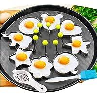 8pcs stampe di uova fritte intagliano diversi tipi di uova in acciaio inox con 1pc spazzola e gelatina di pasticceria in silicone White Seperator Kitchen Cooking Tools   Set di 10