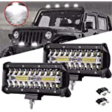 Ricoy 7inch LED Light Bar 2pcs 240W Offroad Driving Lights LED Pods Spot Flood Combo Beam (2 Pcs 7inch 240w)