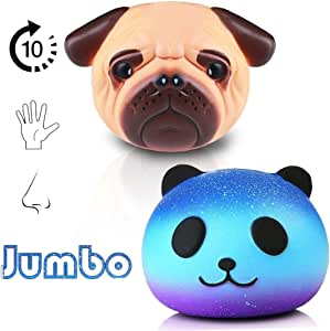 Jumbo Squishies Toy, 2 Pack Squishy Toys Galaxy Panda and Pug Dog, Slow Rising Squeeze Stress Relief Toys Gift Decoration for Kid Adults