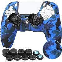 Benazcap Cover Skin in Silicone Antiscivolo per Controller PS5 Grip Skin x 1 (Camouflage Blau) con Attacchi PRO FPS…